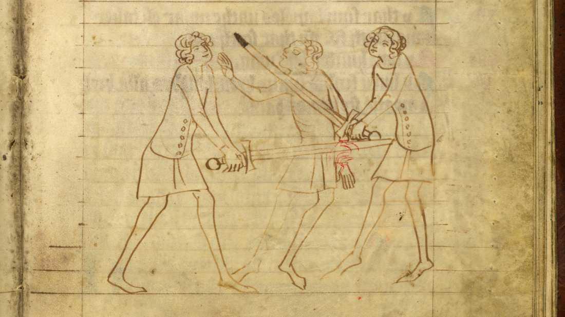 Man som hugger handen av en annan man. Magnus Erikssons landslag med balkar ur Yngre Västgötalagen (1375–1400).