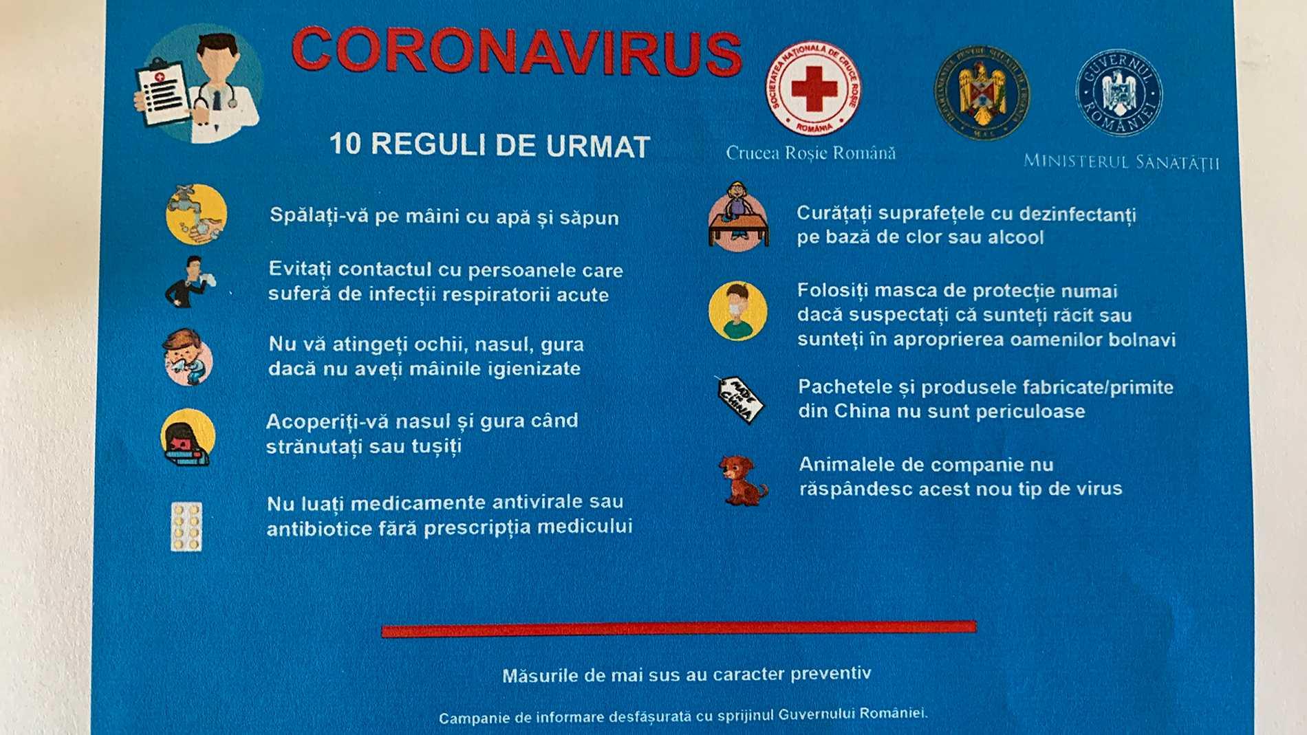 Det flygblad som rumänska ambassaden har tagit fram för att informera om coronaviruset.