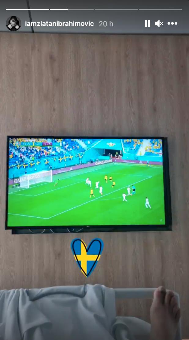 Zlatan såg matchen från sjuksängen