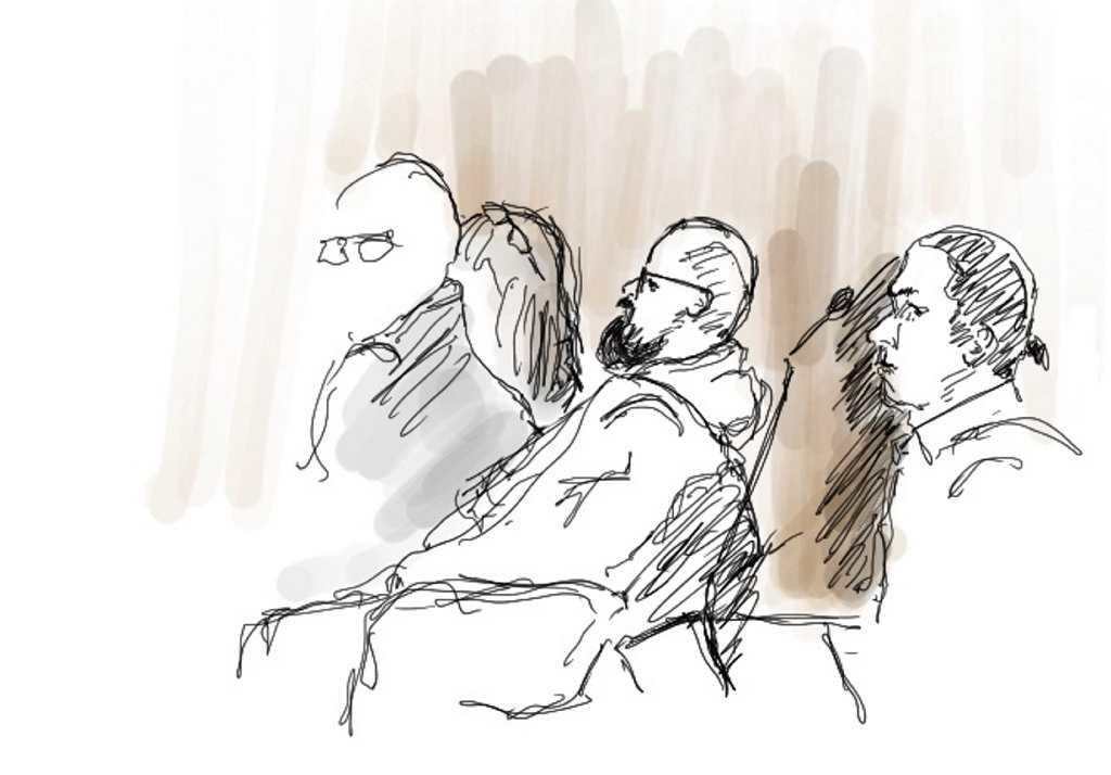 Illustration från rättegången mot de tre före detta Knutbypastorerna, bland dem Åsa Waldau och Peter Gembäck. Arkivbild.