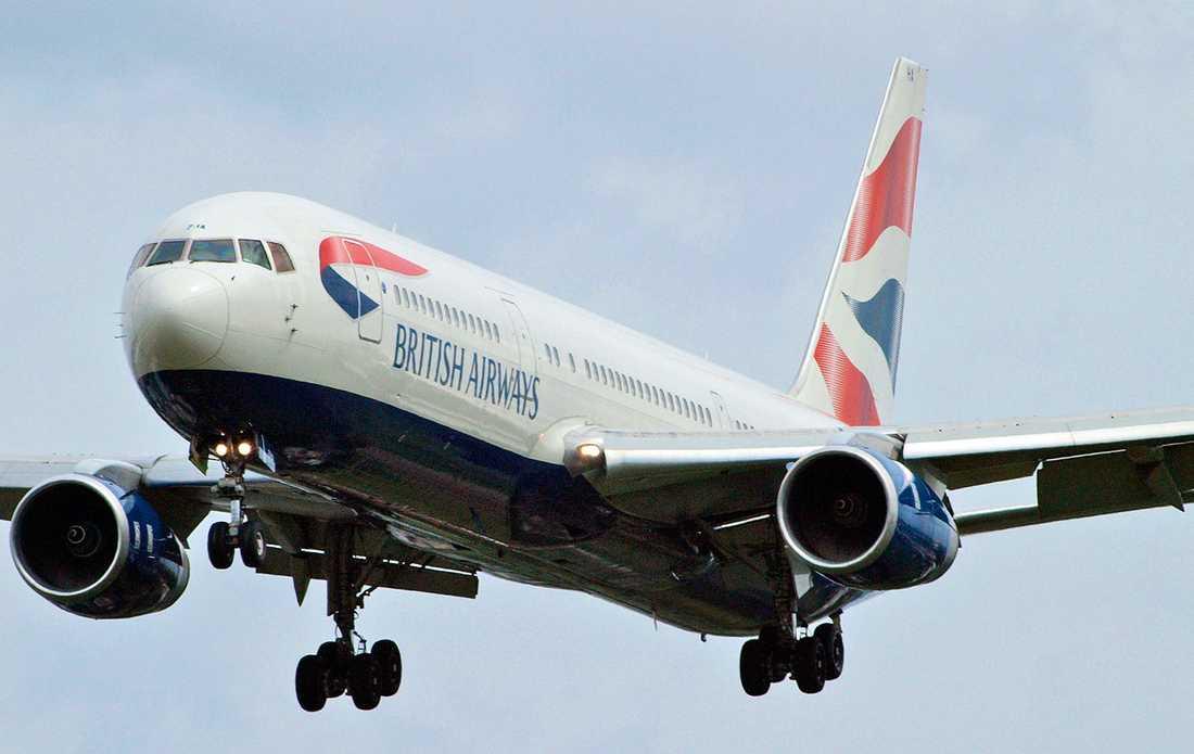 Planet från British Airways var av typen Boeing 777 och hade 229 passagerare ombord.