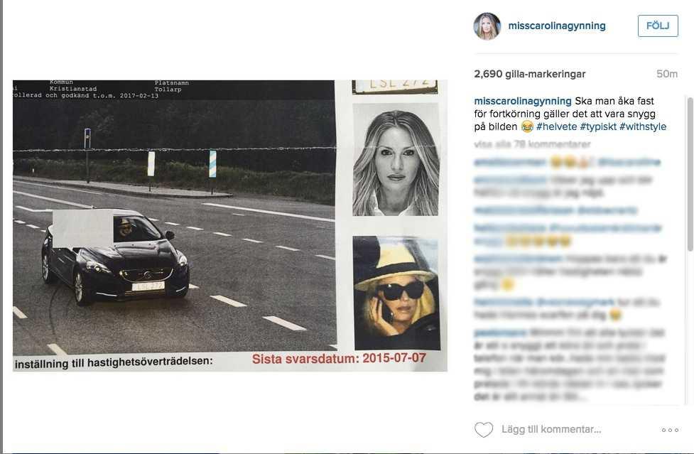 Carolina Gynning fast för fortkörning | Aftonbladet