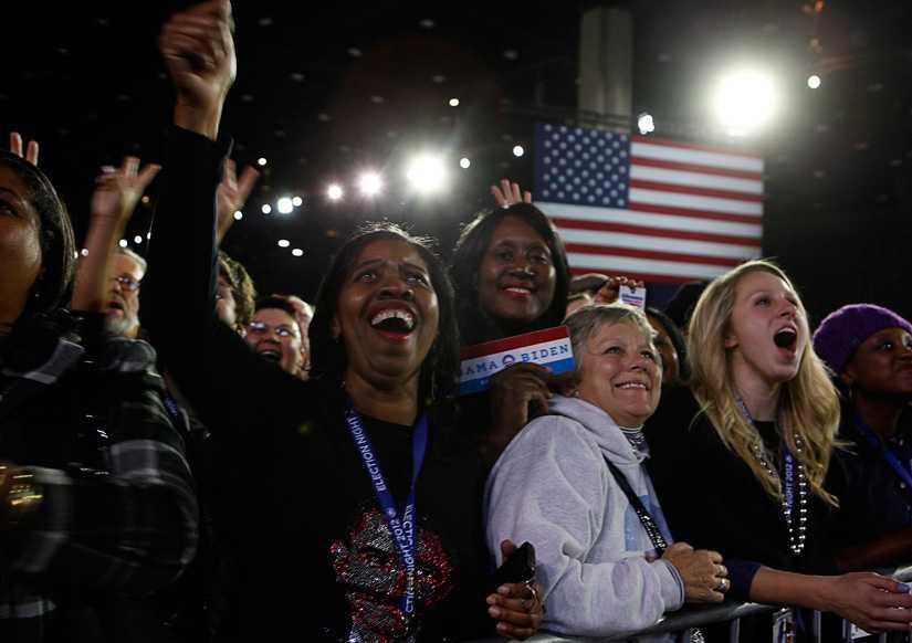 Jublar för sin president På McCormick Place i Chicago samlades Obama-anhängare när vallokalerna stängde i går kväll. Jublet steg mer och mer för varje stat som presidenten tog hem majoriten av rösterna i.