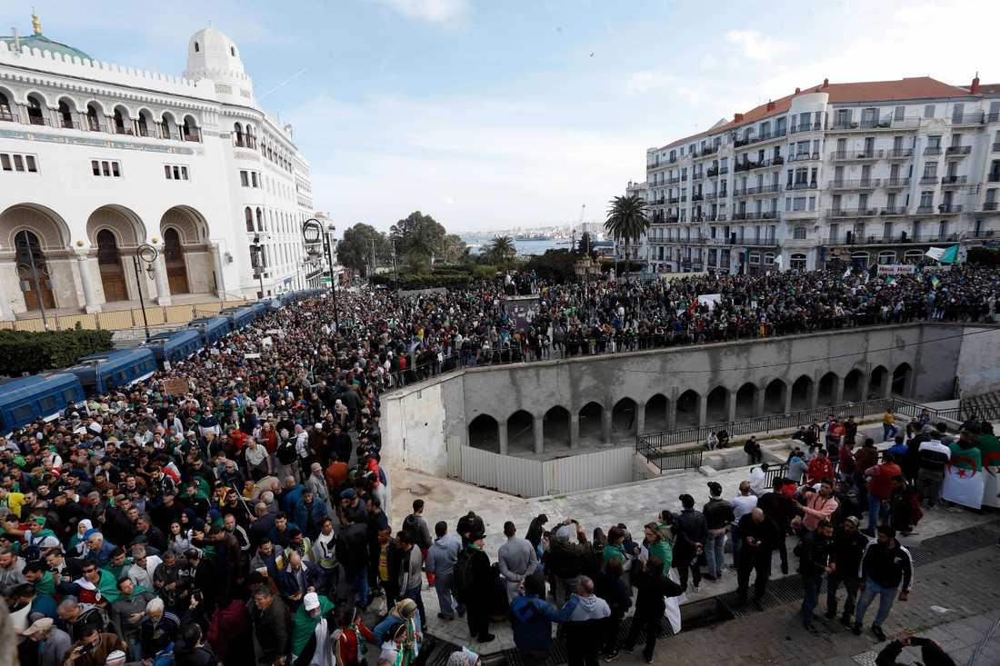 En demonstration i Algeriets huvudstad Alger i februari, innan arrangörerna avblåste aktionerna för att bromsa spridningen av coronaviruset.