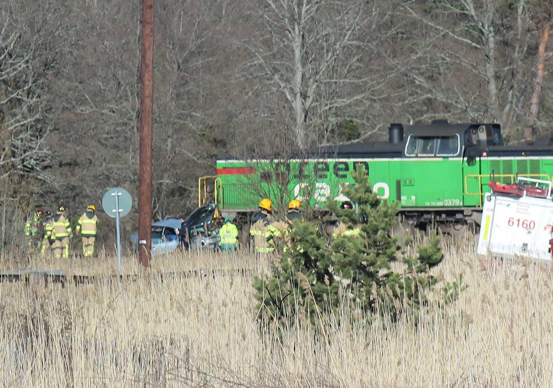 En äldre kvinna dog i krocken med godståget.