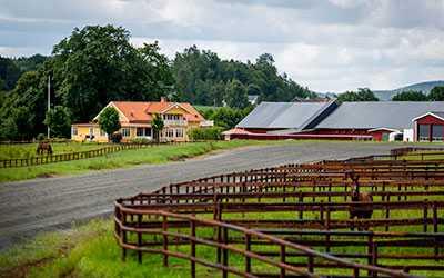 Robert Berghs hus ligger i anslutning till rundbanan och var en av de få byggnader som redan fanns på plats då Bergh köpte gården.