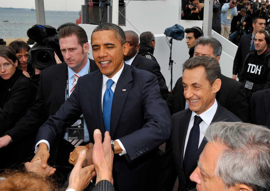 USA:s president Barack Obama anländer till G20-mötet i Cannes.