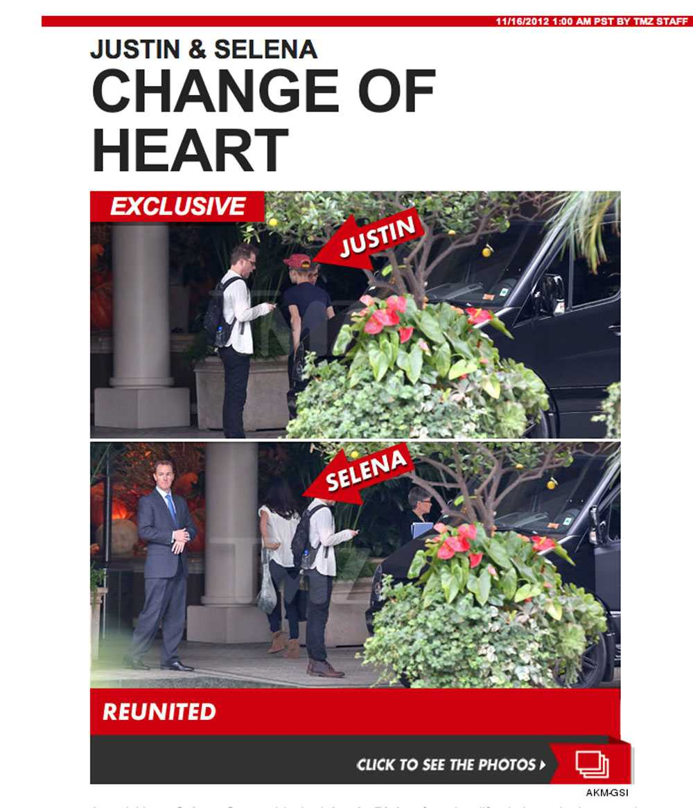 Här är bilderna som visar Justin och Selena anlände till Four Seasons igår.