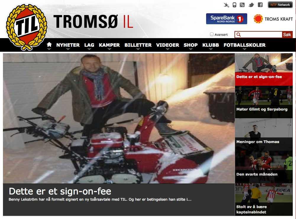 Skärmdump från Tromsös hemsida.