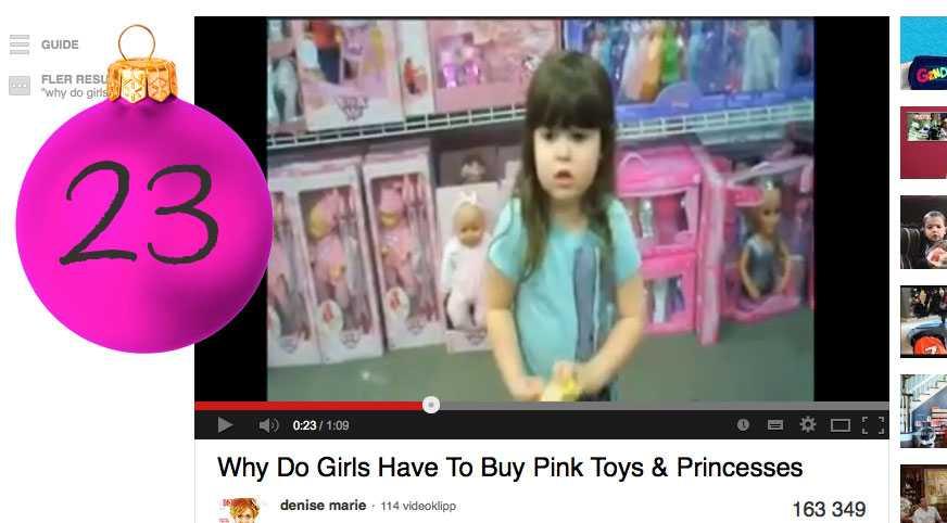 """Marias tips: Titta på Riley Hängt mycket i leksaksbutiker och irriterat dig på de könsuppdelade avdelningarna på sistone? Se smarta 4-åriga Riley ifrågasätta """"Why Do Girls Have To Buy Pink Toys & Princesses"""" på Youtube och känn att barnen är framtiden och att framtiden är ljus."""