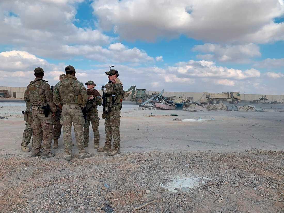 Amerikanska soldater vid en flygbas som i januari attackerades av Iran. Arkivbild.
