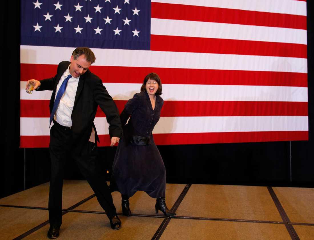 Mitt Romneys anhängare slår klackarna i taket.