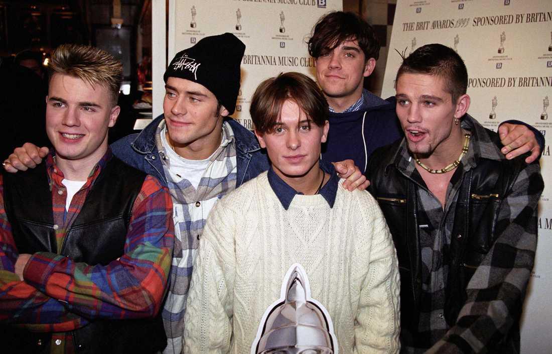 Gary Barlow, Howard Donald, Mark Owen, Robbie Williams och Jason Orange i Take That 1993.