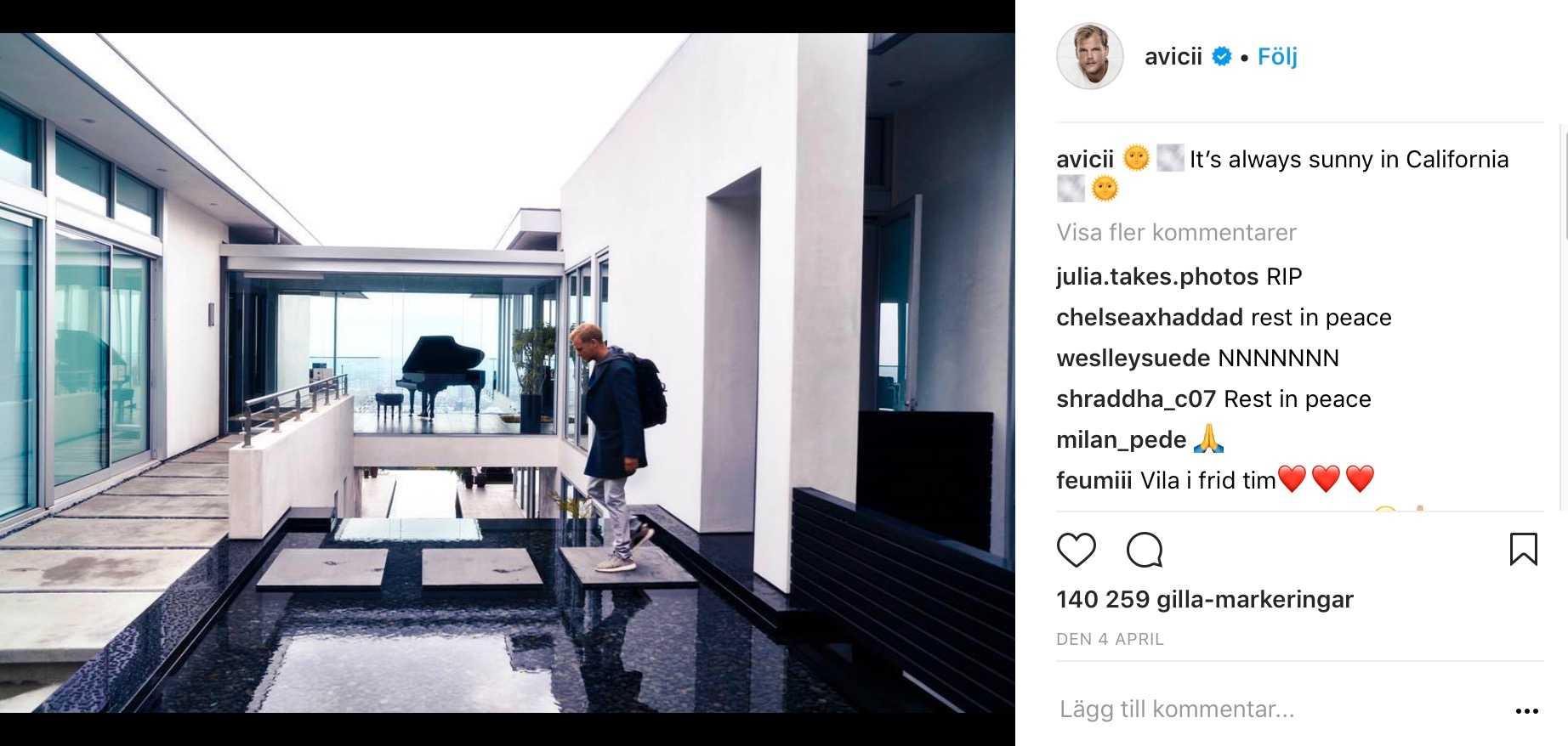 """Sista inlägget på Aviciis oficiella Instagramkonto """"Avicii"""", daterat den 4 april."""
