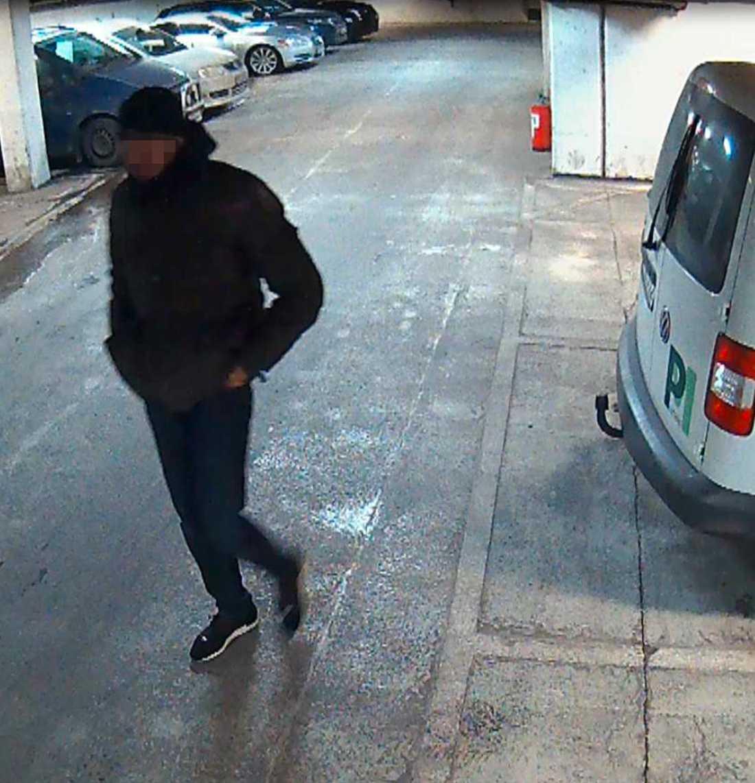 En av de misstänkta i garaget på Hotell Hilton på Södermalm.