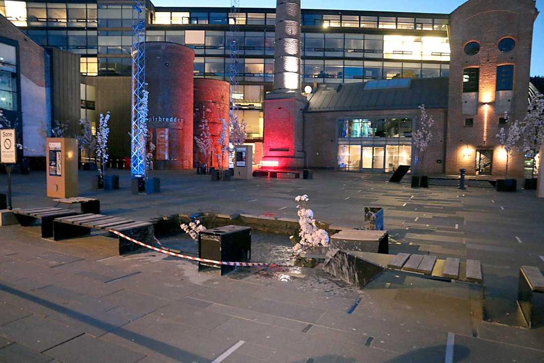 Ett 25 kvadratmeter stort och hundratals meter djupt slukhål har uppenbarat sig vid Drammens högskola i Norge.