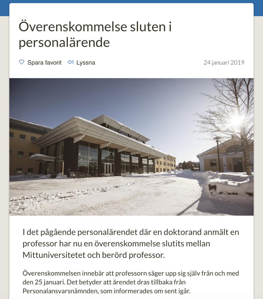 Nyheten publicerades på Mittuniversitetets internweb.