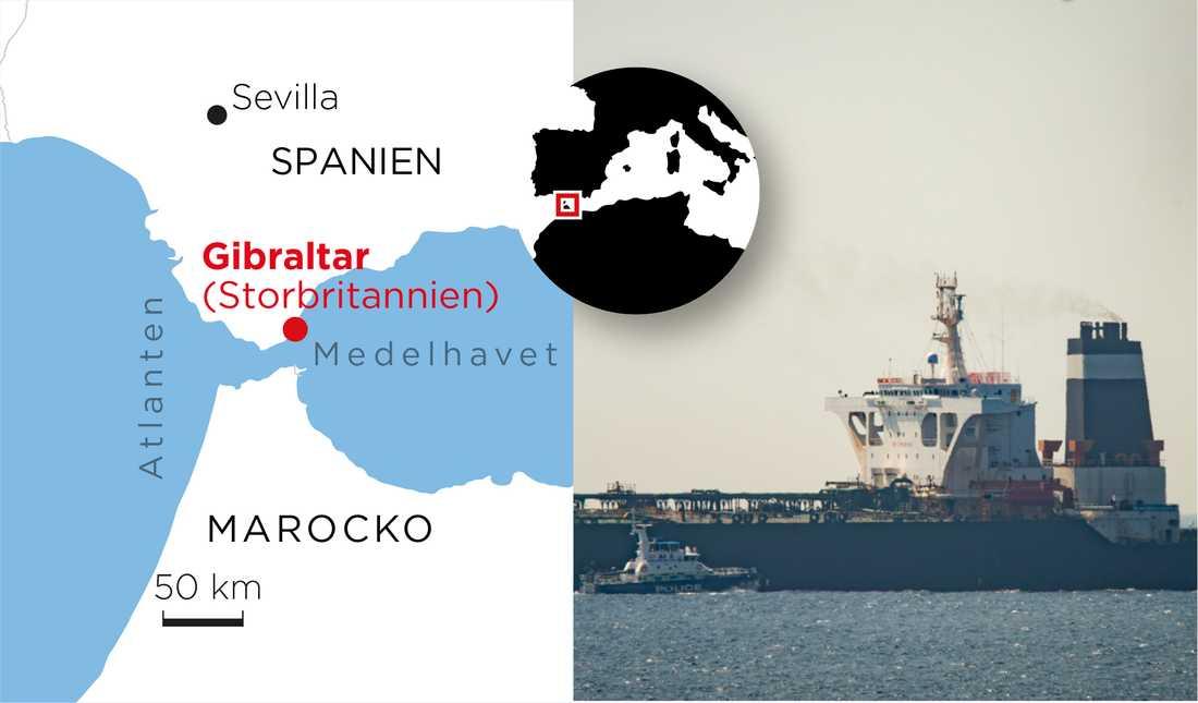 Den iranska oljetankern Grace 1 hölls kvar i Gibraltar.