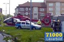 En av de skadade fick föras till sjukhus i helikoper.