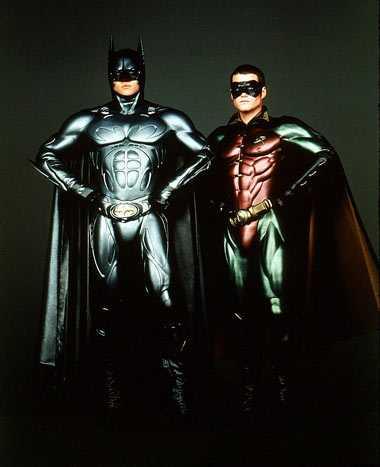 """Val Kilmer och Chris O'Donnell som Batman och Robin i """"Batman Forever"""" från 1995."""