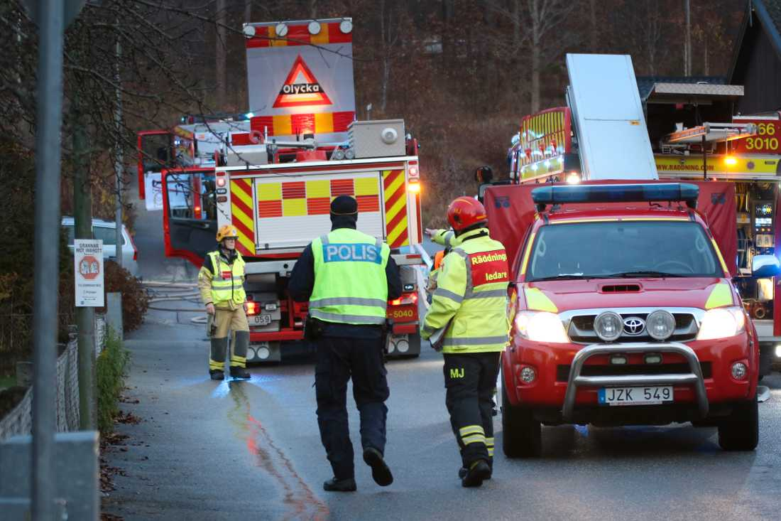 Räddningspådraget vid villabranden i Olofström.