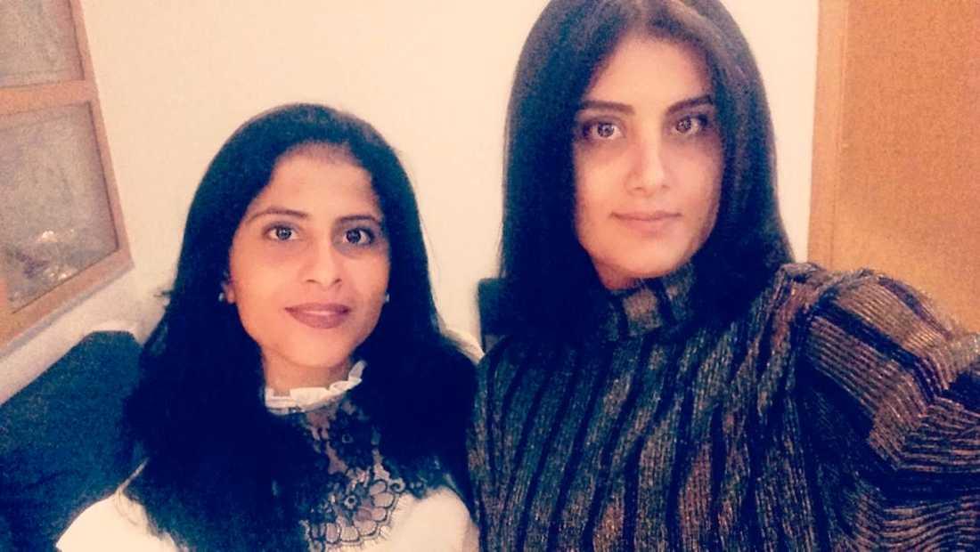 Lina al-Hathloul, t.v., och Loujain al-Hathloul, t.h.