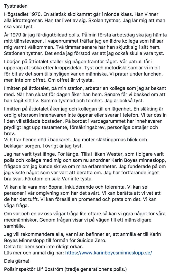 Ulfs text delades på Facebook och har fått stor spridning.