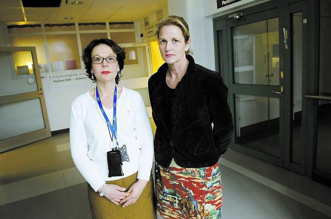 Marta Christensson, huvudskyddsombud, och Sol-Britt Lonne Rahm, ordförande i läkarföreningen.
