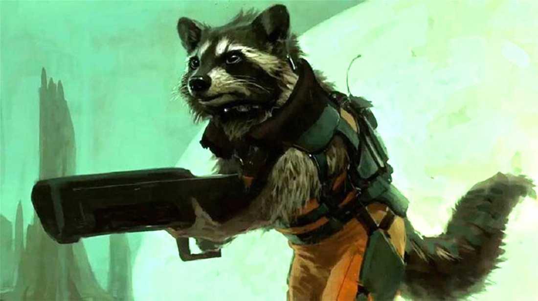 """Artwork som ger en föraning om hur Rocket Raccoon kommer att se ut i """"Guardians of the galaxy""""."""
