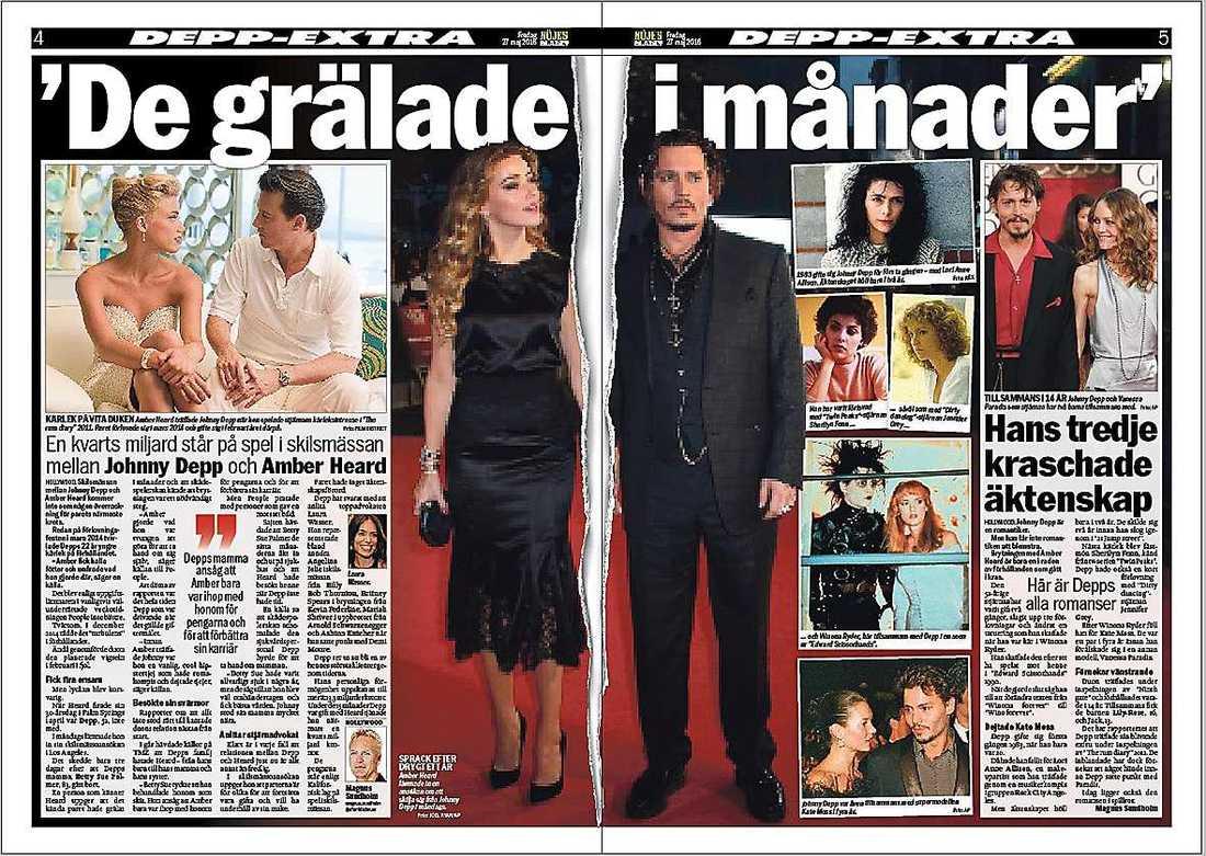 Nöjesbladet i går.Moss.Amber Heard och Johnny Depp gifte sig i februari förra året. I måndags ansökte Heard om skilsmässa och nu berättar hon om den svåra tiden. Foto