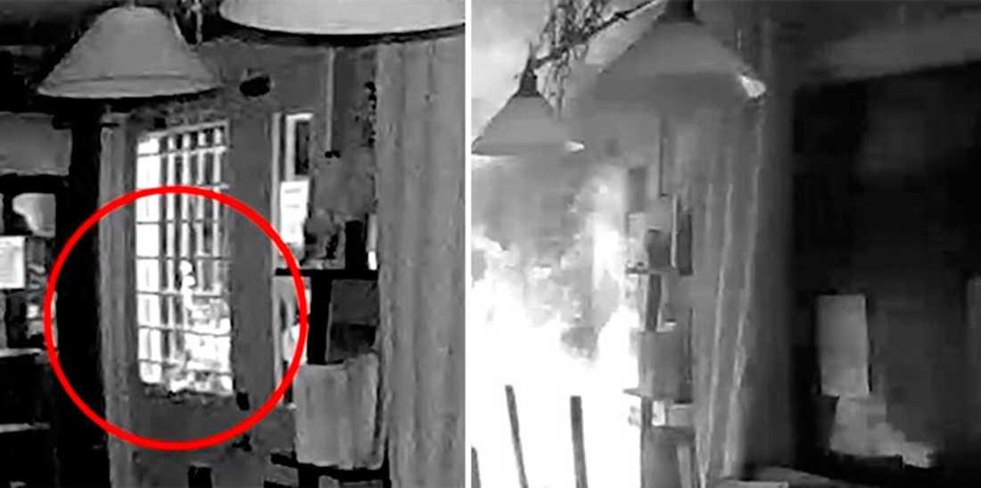 Bilder från polisens film från branden.