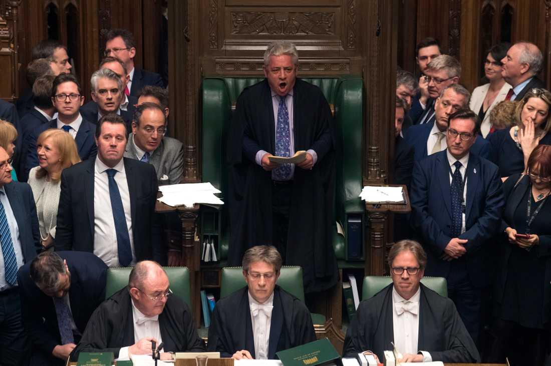 Talmannen John Bercow talar till parlamentsledamöterna i Westminster. Arkivbild.