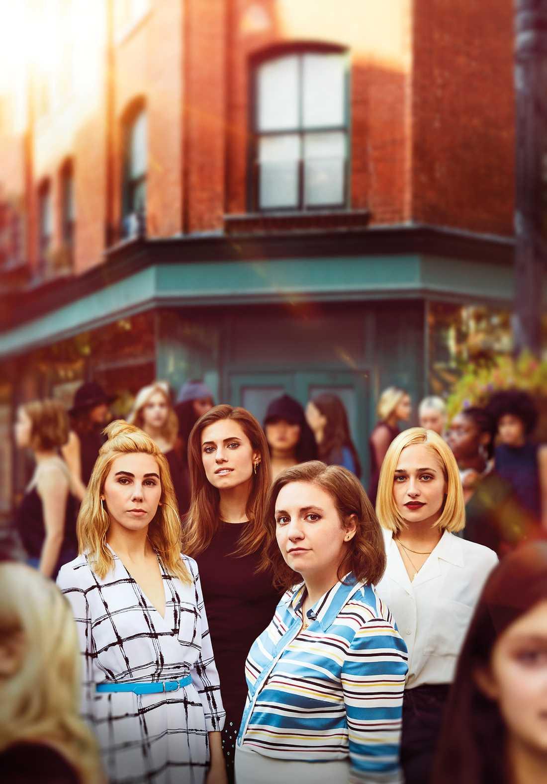 """Shoshanna, Marnie, Hannah och Jessa i """"Girls""""."""