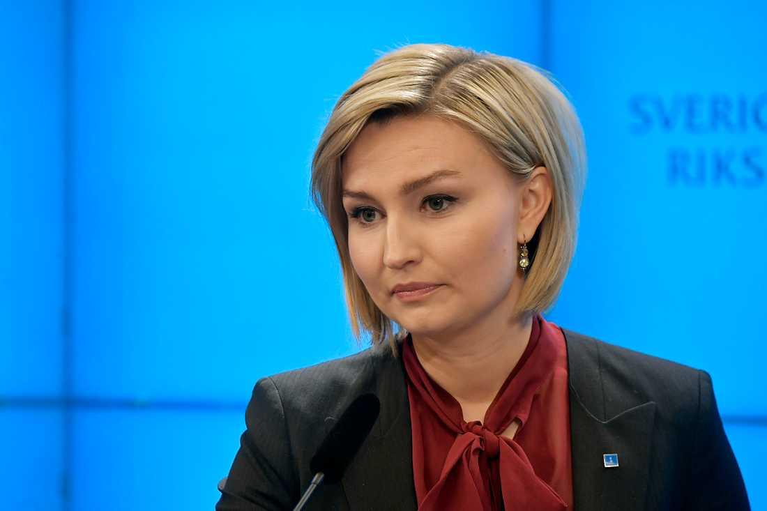Ebba Busch Thor, KD, under presskonferensen.