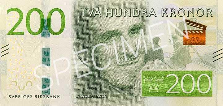 Ingmar Bergman på de nya 200-kronors sedlarna. Den nya valören ska minska det totala antalet sedlar.