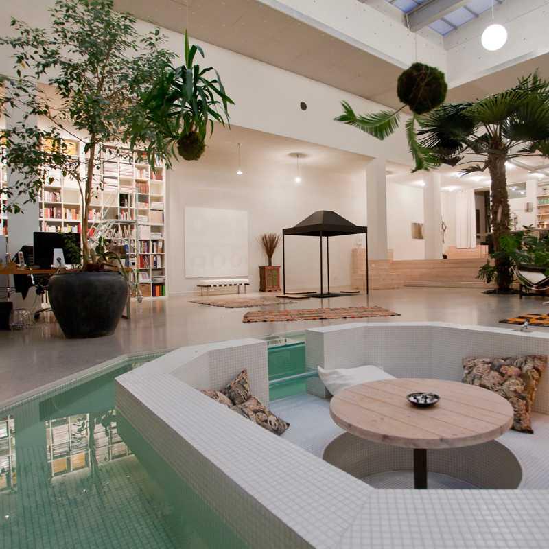 Den unika lägenheten har palmer som är planterade i golvet.