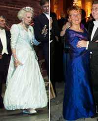 Prinsessan Lillian:   Hon är väldigt fin i ljust pärlgrått och lite ballongkjol. Maud Olofsson, partiledare, får två plus för sin kreation.