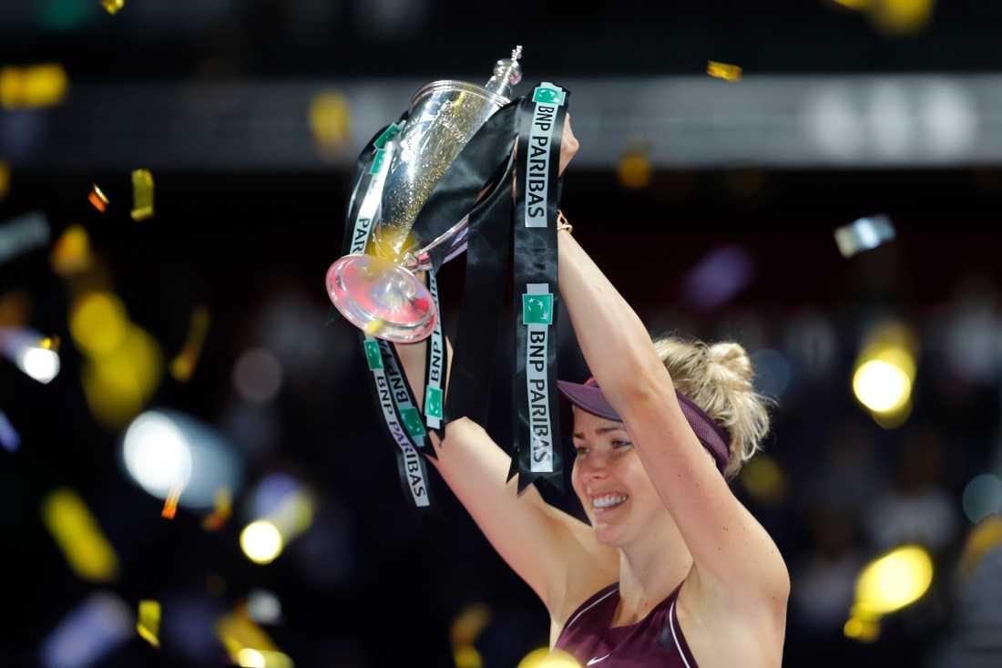 Ukrainskan Elina Svitolina, nu rankad åtta i världen, vann WTA-slutspelet i Singapore förra året. Arkivbild.