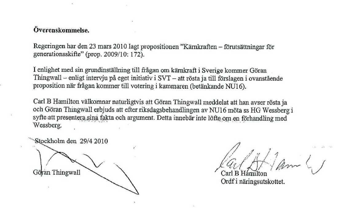"""ETT SKYDD """"Det är ett sätt att skydda honom men också att skydda mig"""", säger Carl B Hamilton (FP) om överenskommelsen med Göran Thingwall."""