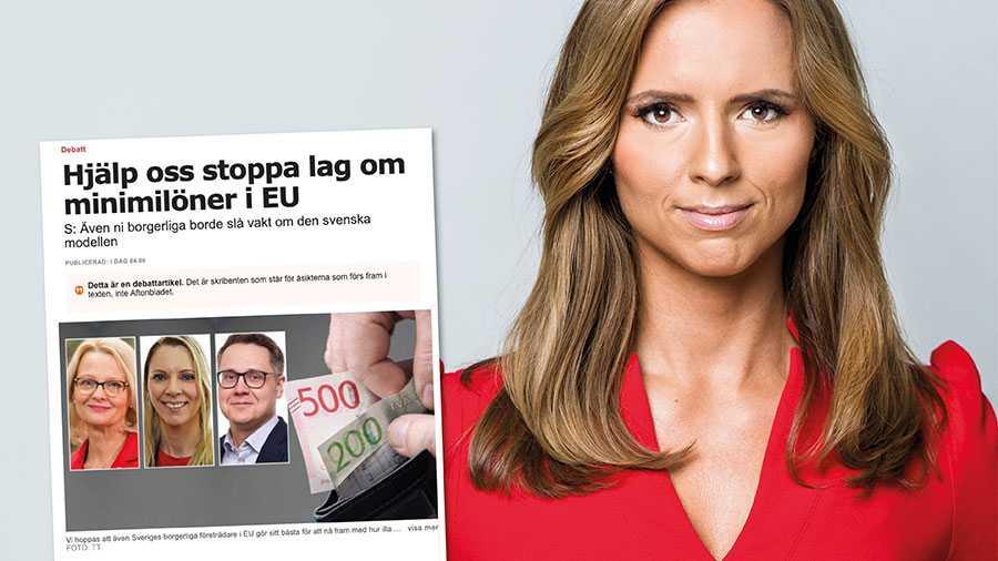 S lyckas höja retoriken kring minimilöner samtidigt som de återigen duckar frågan om hur det kommer sig att svensk arbetsmarknad nu riskerar drabbas av EU-centraliserad lönebildning. Det är S som har eldat på utvecklingen, skriver Sara Skyttedal.