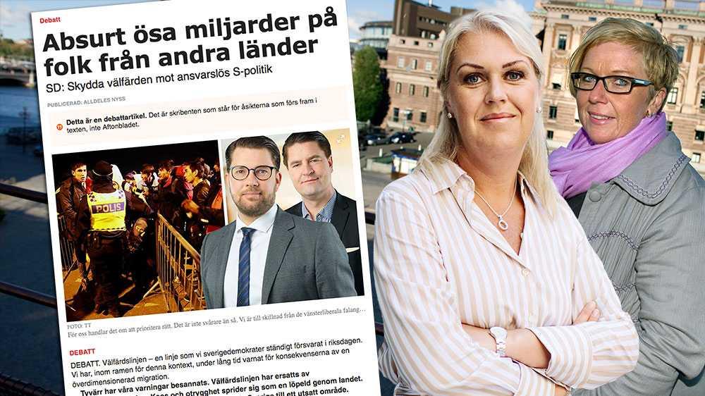 Nu påstår Sverigedemokraternas Jimmie Åkesson och Oscar Sjöstedt att även de står upp för välfärden. Det är inte första gången SD:s partiledning skarvar med sanningen, skriver  Lena Hallengren och Annelie Karlsson (S).