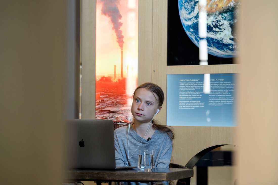 Greta Thunbergs möte med statsministern och presskonferensen efteråt skedde digitalt. Arkivbild.