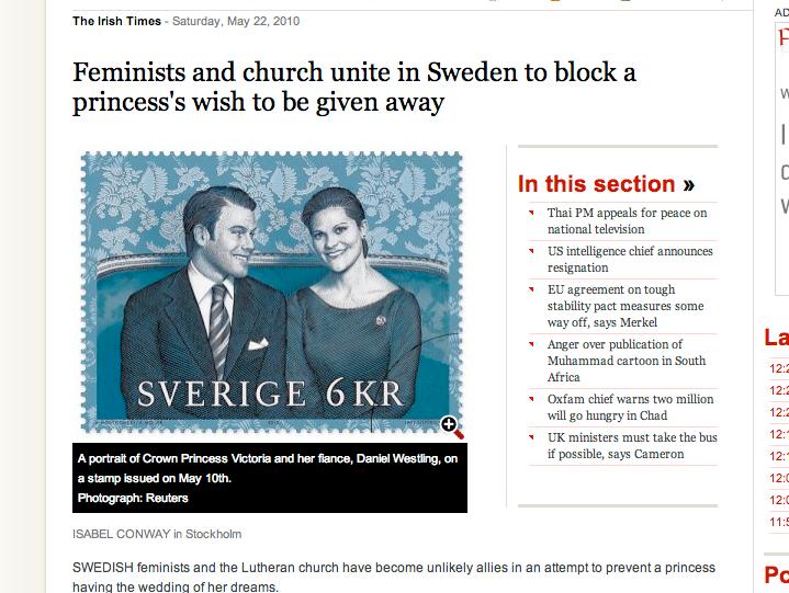Även den irländska tidningen Irish Times skriver om det stundande prinsessbröllopet.