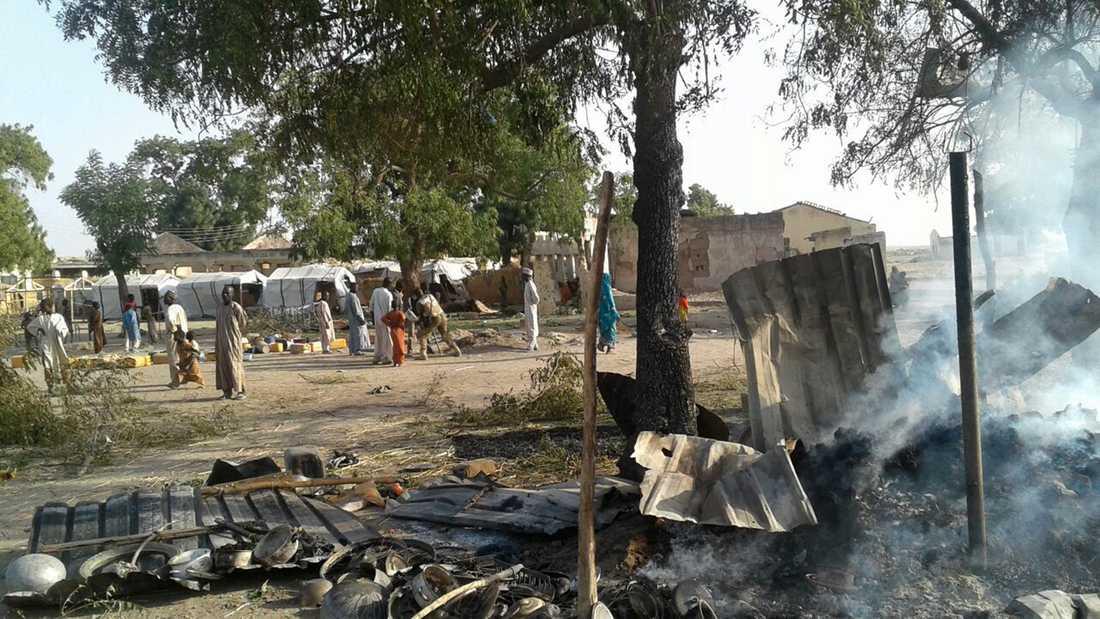 Ett läger för internflyktingar i staden Rann i Nigeria, fotograferat 2017.