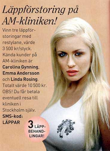 annonsen I Vecko-Revyns senaste nummer lottas läppförstoringen ut.