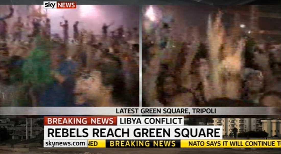 Folket jublade på Gröna torget i Tripoli.