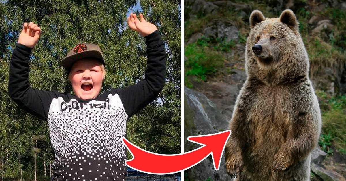 Såhär såg Hugo ut när han skrämde björnen, men björnen på bilden har inget med händelsen att göra.