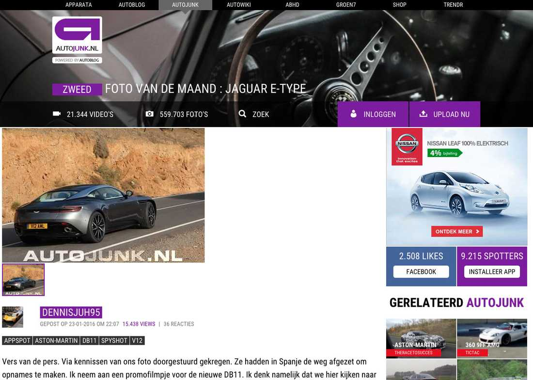Autojunk-användaren dennisjuh95 är den som lagt upp bilden på Aston Martins nyhet.
