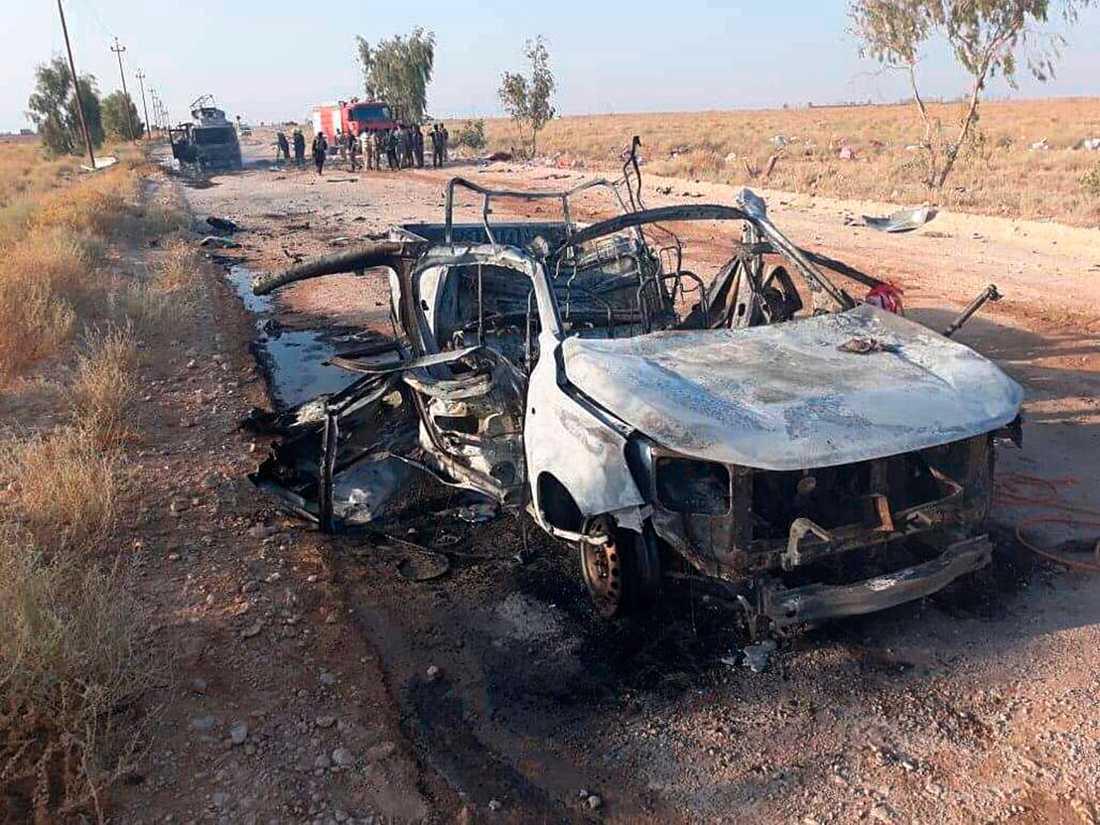 Bild från vad som sägs vara en drönarattack av Israel i Irak. Bilden kommer från den Iranstödda shiamilisen Folkets mobiliseringsstyrkor.