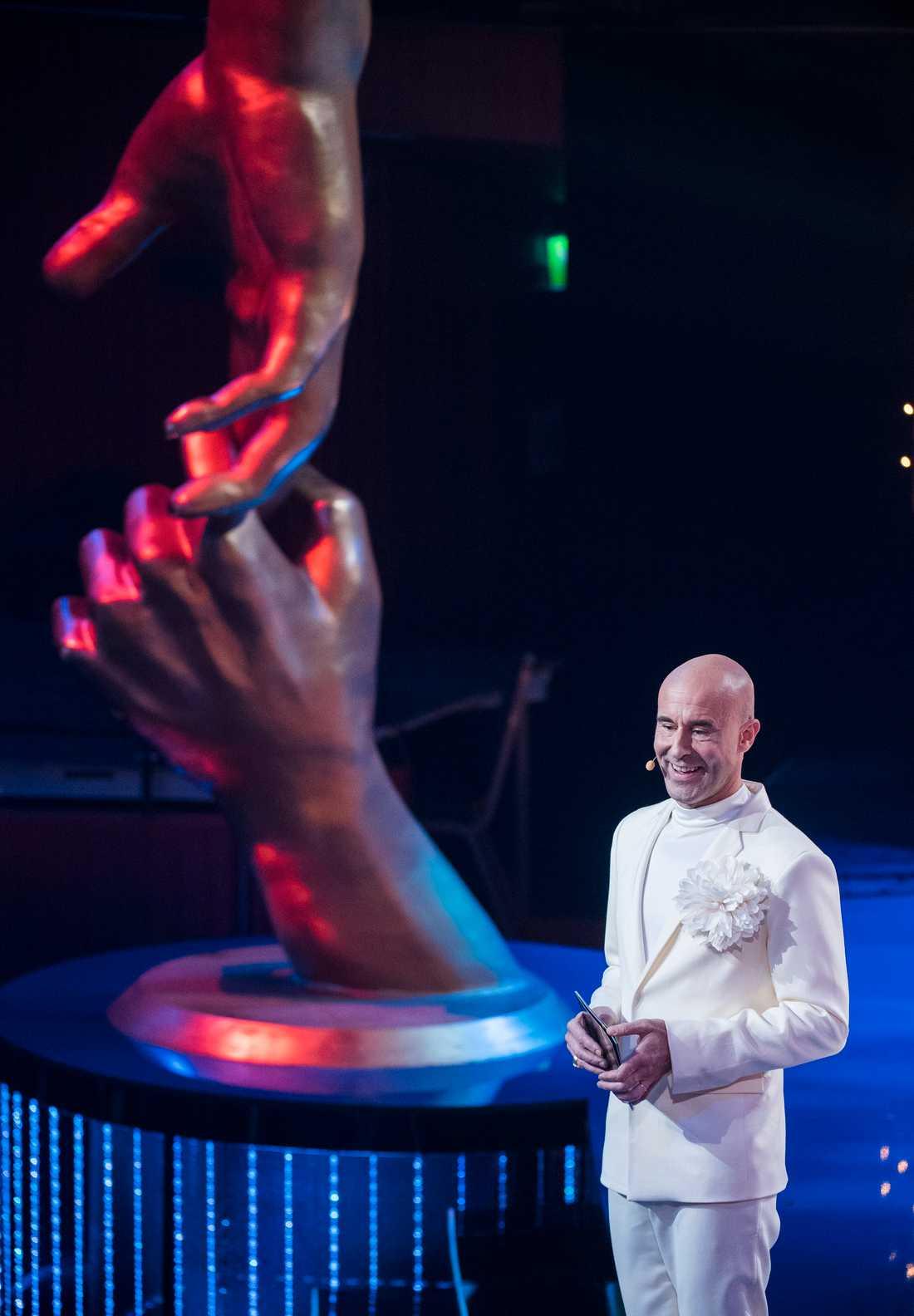 Mark Levengood under Svenska Hjältar-galan på Cirkus i Stockholm i går.